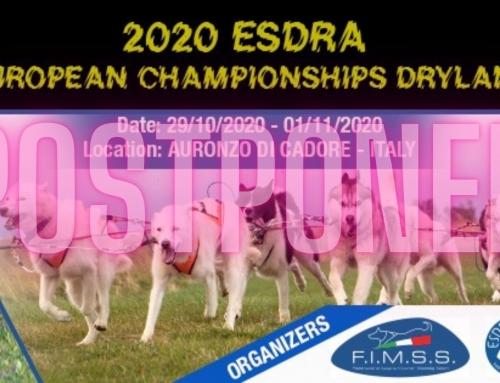 ESDRA Europameisterschaft Dryland 2020 auf April verschoben.